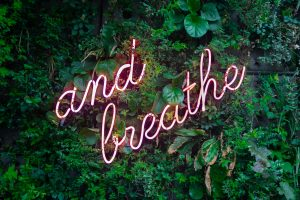 """""""and breathe"""" in neon cursive over a green leaf background"""
