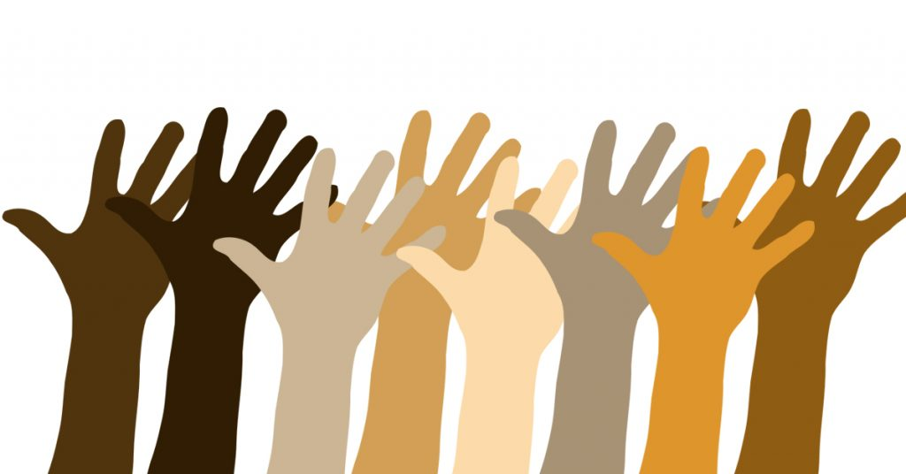 an illustration of raised hands representing all races