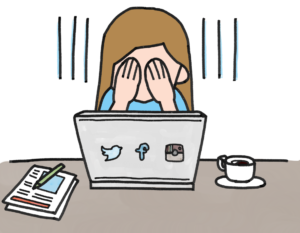 illustration of a person covering their face with their hands, sitting in front of a laptop with Twitter, Facebook, and Instagram symbols on it. Paper and pen and a cup of coffee sit on the table as well, on either side of the computer.