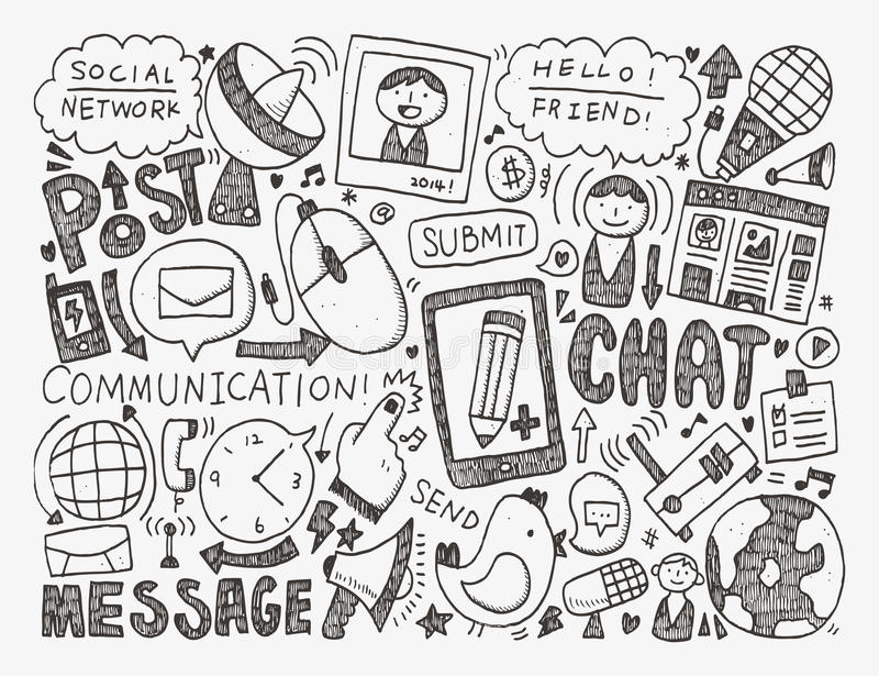 "illustration representing social media with smiling faces and terms including ""social network,"" ""post,"" ""message,"" and ""chat"""
